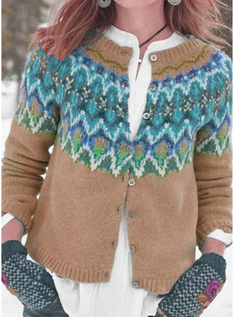 Polyester Long Sleeves Print Chunky knit Graphic