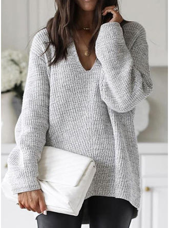 Solid Ribbed Chunky knit V neck Sweaters