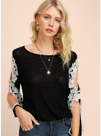 Floral Lace Round Neck Long Sleeves Casual Blouses