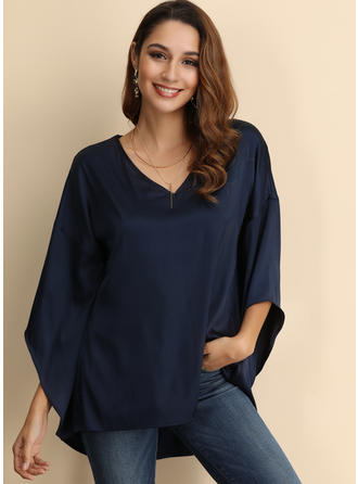 Solid V Neck Flare Sleeve 3/4 Sleeves Casual Blouses