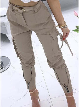 Solid Pockets Shirred Long Casual Sexy Tribal Pants