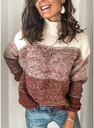 Color Block Chunky knit Turtleneck Sweaters