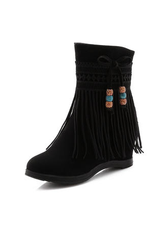 Women's Leatherette Wedge Heel Boots Mid-Calf Boots With Tassel shoes
