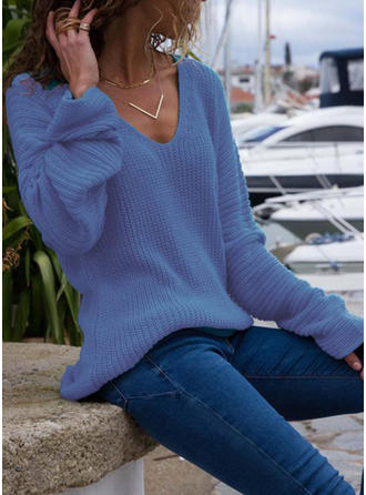 Solid Ribbed V neck Sweaters