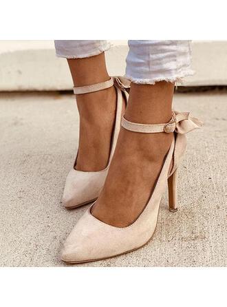 Γυναίκες PU Ψηλό τακούνι Γοβάκια Με Bowknot Πόρπη Στερεό χρώμα παπούτσια