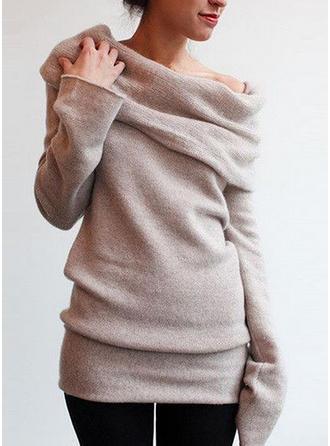 polyester Off the Shoulder Solid färg Tröjor