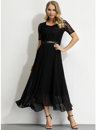 Lace/Solid Short Sleeves A-line Maxi Party/Elegant Dresses