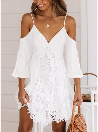 Lace/Solid 3/4 Sleeves A-line Above Knee Sexy/Casual/Vacation Skater Dresses