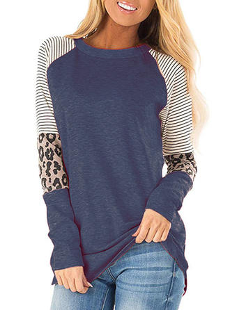 Patchwork Striped Leopard Round Neck Long Sleeves Casual Knit Blouses
