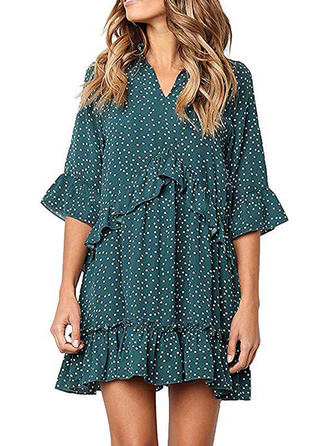 PolkaDot Flare Sleeves Shift Above Knee Casual/Elegant Dresses