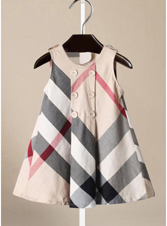 Girls Round Neck Plaid Buttons Casual Cute Dress