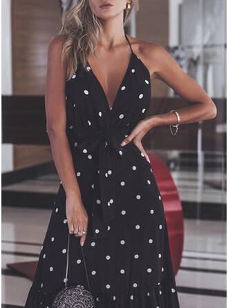 PolkaDot Sleeveless A-line Sexy/Casual/Party/Vacation Maxi Dresses