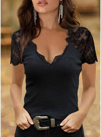 Solid Lace V-Neck Short Sleeves Raglan Sleeve Elegant Blouses