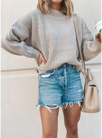 Ribbed Round Neck Sweaters