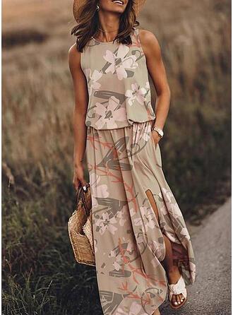 Nadrukowana/Kwiatowy Bez rękawów W kształcie litery A Casual/Wakacyjna Midi Sukienki