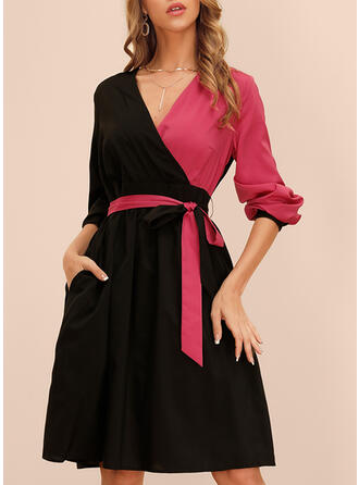Color-block Long Sleeves A-line Knee Length Vintage/Elegant Dresses