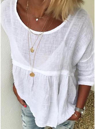 Solid Round Neck 3/4 Sleeves Casual Blouses