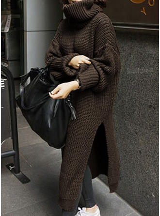 Polyester Turtleneck Plain chunky knit