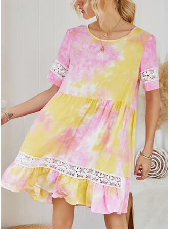 Lace/Print 1/2 Sleeves Shift Knee Length Casual/Vacation Dresses