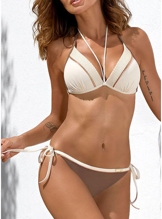 Solid Color Low Waist Halter V-neck Sexy Fresh Attractive Bikinis Swimsuits
