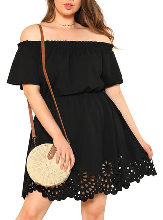 Solid 1/2 Sleeves A-line Knee Length Little Black/Casual/Plus Size Dresses