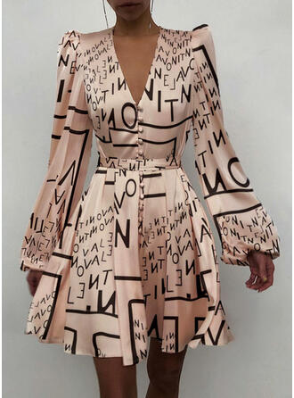 Print Long Sleeves/Puff Sleeves A-line Above Knee Party/Elegant Skater Dresses