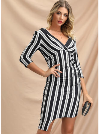 Striped 3/4 Sleeves Sheath Above Knee Party/Elegant Dresses