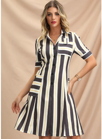 Striped Short Sleeves A-line Knee Length Casual/Elegant Dresses