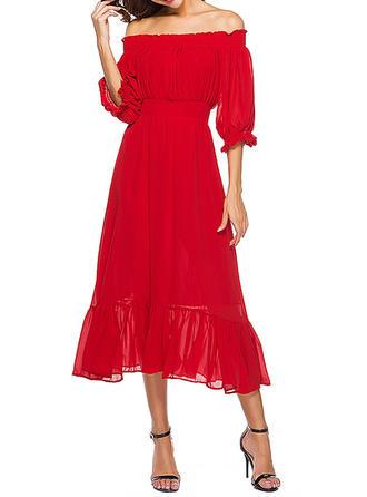 Solidny Dekolt typu Carmen Midi Sukienka Trapezowa