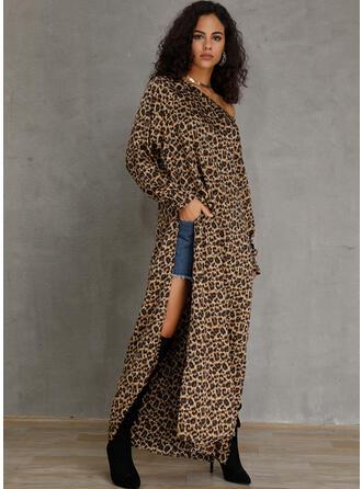 леопард Μακρυμάνικο Αμάνικο Καθημερινό Μάξι Сукні