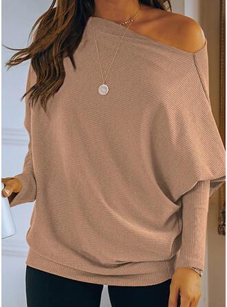 твердый Одно плечо Длинные рукова Повседневная Вязание Блузы