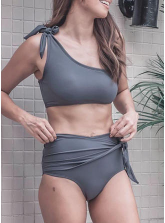 Couleur Unie Taille Haute Une Épaule Élégante Classique Mignon Bikinis Maillots De Bain