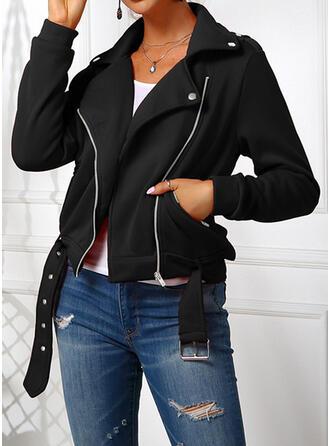 Lange Mouwen Solide Jackets