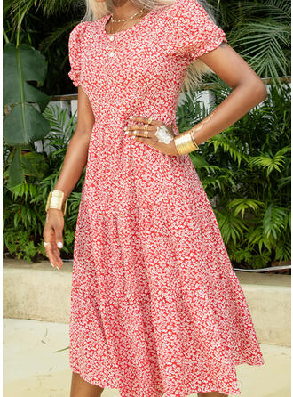 Print Short Sleeves/Puff Sleeves A-line Casual/Elegant Midi Dresses