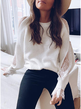 Solid Chunky knit Cold Shoulder Sweaters