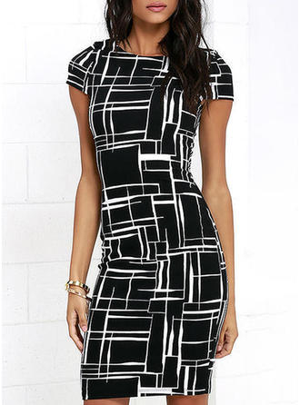 Plaid/Geometric Print Short Sleeves Bodycon Knee Length Casual Dresses