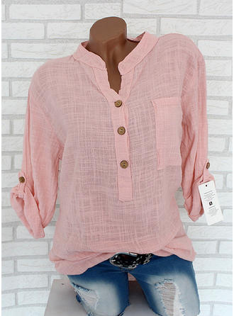 Plain Lapel Long Sleeves Button Up Casual Blouses