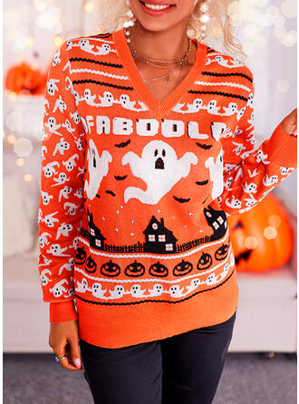 Halloween Estampado Decote em V Casual Suéteres