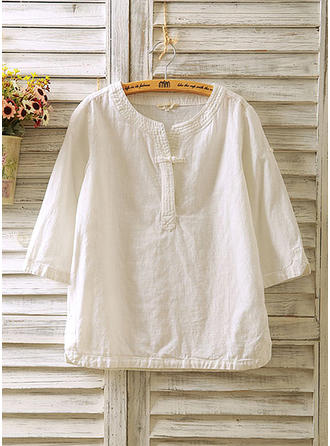 Solid Round Neck 3/4 Sleeves Button Up Casual Blouses