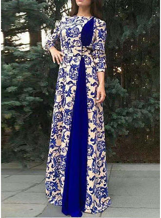 Print Long Sleeves A-line Maxi Casual/Elegant Dresses