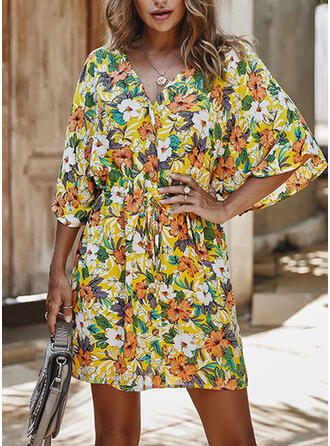 Print/Floral 3/4 Sleeves Sheath Above Knee Casual/Vacation Dresses