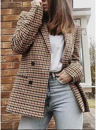 Cotton Blends Long Sleeves Grid Blazers