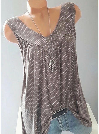 PolkaDot V neck Sleeveless Casual Sexy Tank Tops