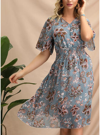 Print/Floral 1/2 Sleeves A-line Knee Length Casual/Elegant/Boho/Vacation Dresses