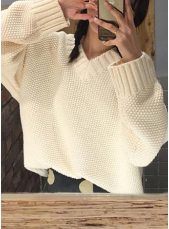 Akryl V-neck Jednolity kolor masywna dzianina Swetry