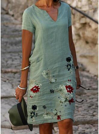 Druck/Blumen Kurze Ärmel Shift Knielang Freizeit Tunika Kleider