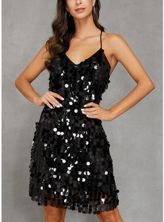 Sequins Sleeveless Sheath Knee Length Little Black/Sexy/Party Dresses