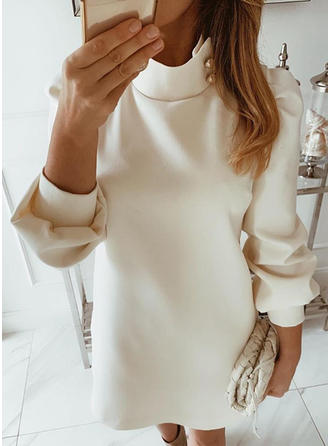Solid Long Sleeves Shift Above Knee Little Black/Casual/Elegant Dresses