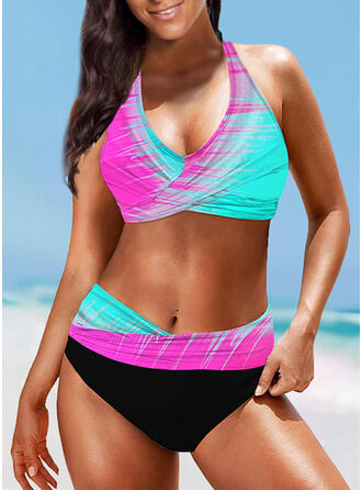 Splice color Halter V-Neck Sexy Boho Bikinis Swimsuits
