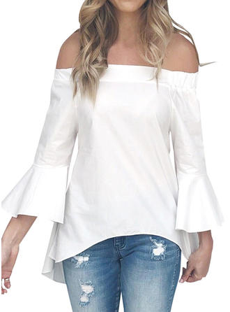 Polyester Off the Shoulder Plain Long Sleeves Casual Blouses